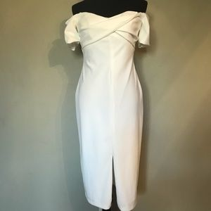 BETSY & ADAM WHITE OFF THE SHOULDER DRESS …